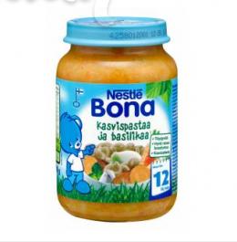 Bona паста с овощами и базиликом, с 12 мес. 200г / Kasvispastaa ja basilikaa
