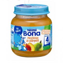 Bona груша с персиком, с 4 мес. 125г / Persikkaa ja päärynää