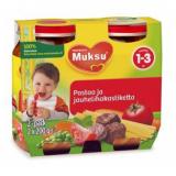 Muksu макароны с мясным соусом, 1-3 года 2шт. 200г / pastaa ja jauhelihakastiketta