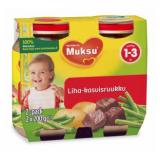 Muksu овощи с горошком и говядиной, 1-3 года 2шт. 200г / liha-kasvisruukku
